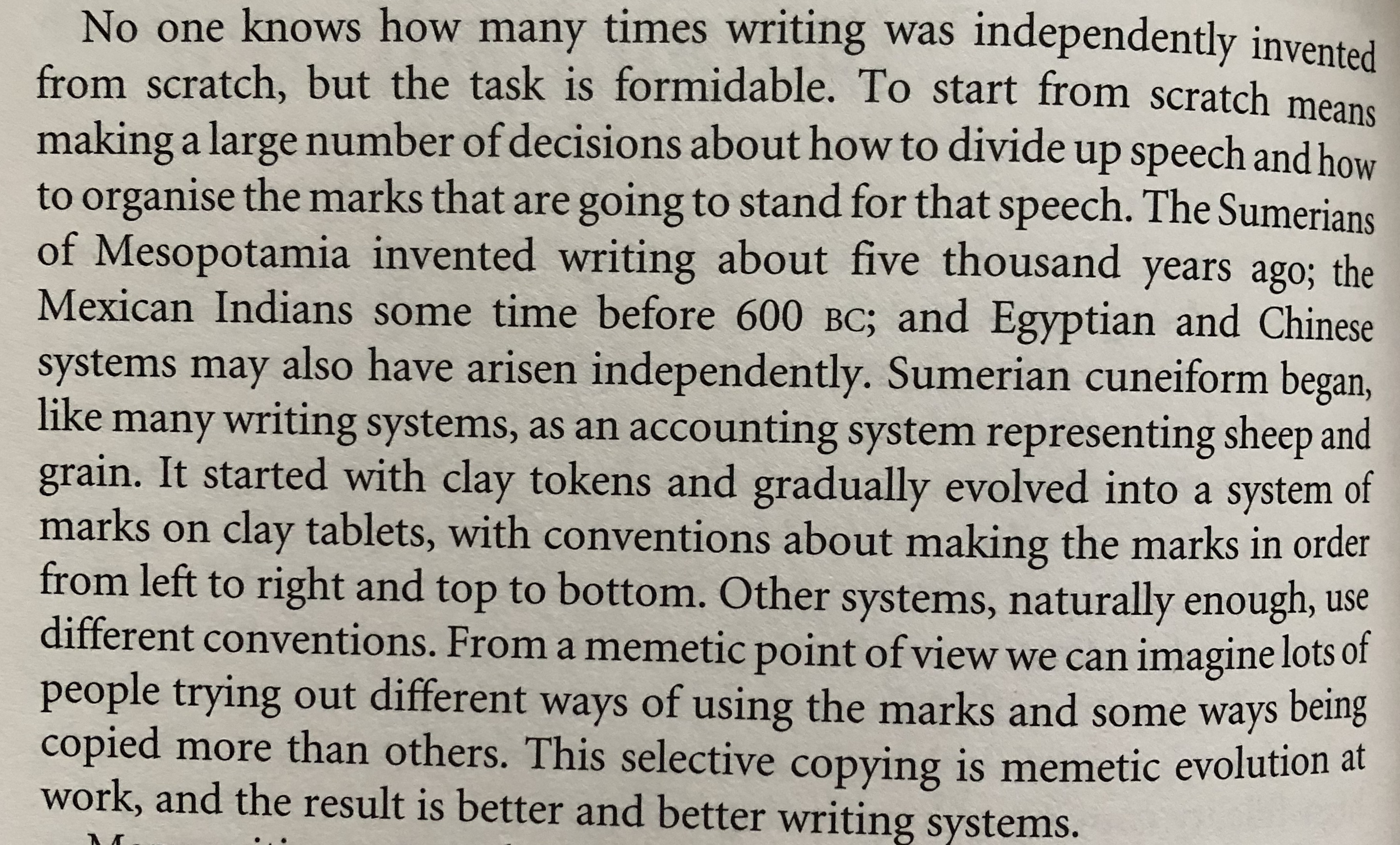 Memetic evolution of writing systems